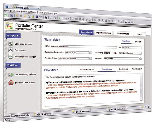 Webbasierte und multifunktionale Projekt- und Portfoliomanagement (PPM) Software Sciforma 6.0