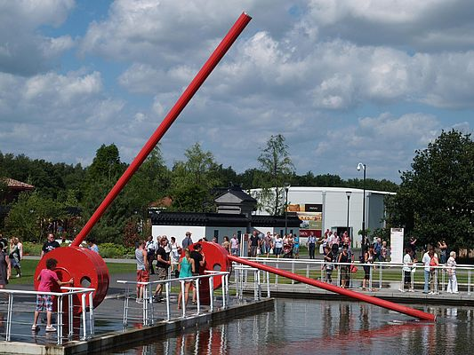 "8.1 m long, 3.5 t in weight and can be used by a child: The water toys designed for the Floriade 2012 in Venlo, Netherlands called ""SWING"" by the ""Metallatelier"" metal workshop"