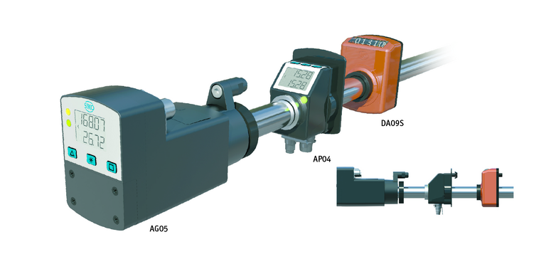 Position indicators and actuating drives fit on the same axis diameter