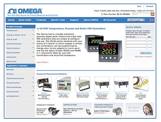 Omega Engineering Launches New Look Website