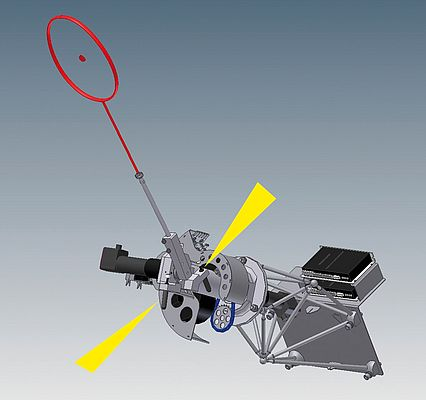 The badminton racquet and the hand that can turn through two axes move horizontally backwards and forwards on the carriage. The axes determine the hitting strength and the direction and are equipped with small shock absorbers and TUBUS profile dampers.