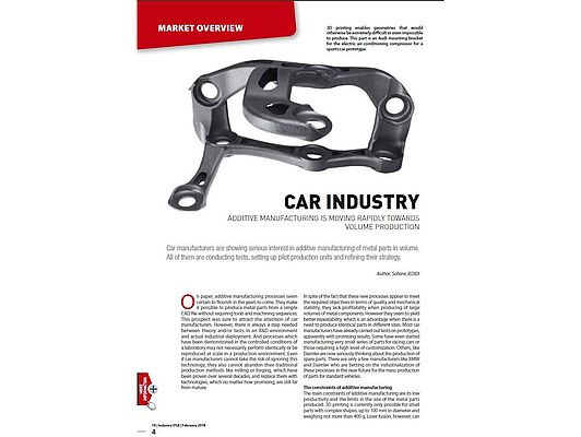 Additive Manufacturing And Car Industry: Moving Towards Volume Production