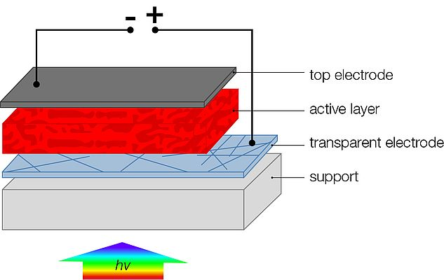 Organic solar cell architecture: The most popular structure is based on a photon-harvesting active layer, sandwiched between two electrodes - one of which must be transparent to allow light to penetrate.