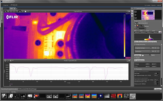ResearchIR enables researchers to view, record and store images at high speed, post-process fast thermal events and generate time-temperature plots from live images or recorded sequences.