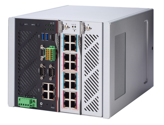 iNA600 - DIN-rail Industrial-grade Network Appliance with Intel® Xeon® Processor and 16-port L2 Managed Switch