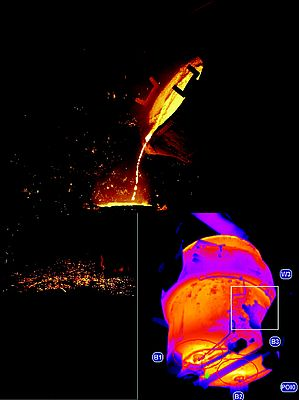 Thermal imaging cameras can detect hot spots on the ladle that warn of a failure far sooner than a visual inspection. This allows the ladle to be taken out of service before failure occurs.