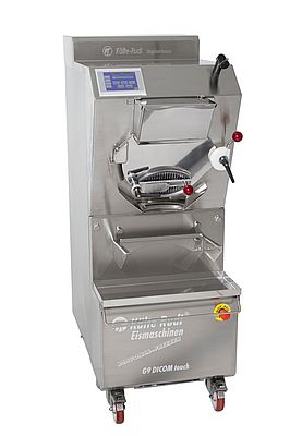 The Diagonal-Freezer – an ice cream machine from Kälte-Rudi – is characterised by its patented design featuring a diagonally installed production cylinder and paddle with kneading function.