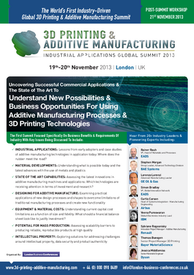 3D Printing & Additive Manufacturing Summit 2013