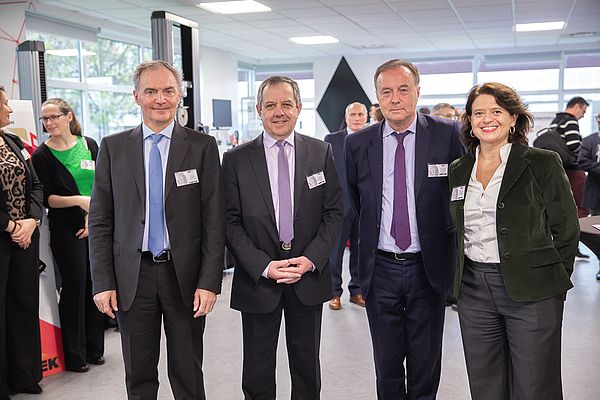 AMETEK France Country Manager Alain Ponsot, Versailles-Yvelines Chamber of Commerce President Gérard Bachelier, Élancourt City Mayor Jean-Michel Fourgous and General Manager AMETEK Europe Emanuela Speranza