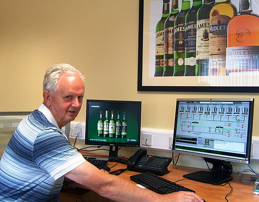 Mick McCarthy monitors whiskey production with up-to-date plant data transferred to the control system via Turck's excom remote I/O system