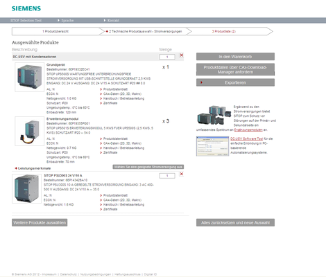 Components that are copied into the product list can then be transferred directly to the shopping cart of the Siemens Industry Mall or exported as a PDF or Excel file. Detailed product information can be requested by means of the CAx Download Manager.
