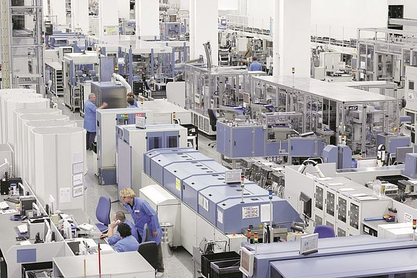 The factory manufactures 12 million Simatic programmable logic controls per year