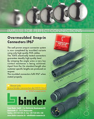 Overmoulded snap-in connectors IP67