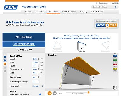 New at ace-ace.com: Online Gas Spring Calculation Program