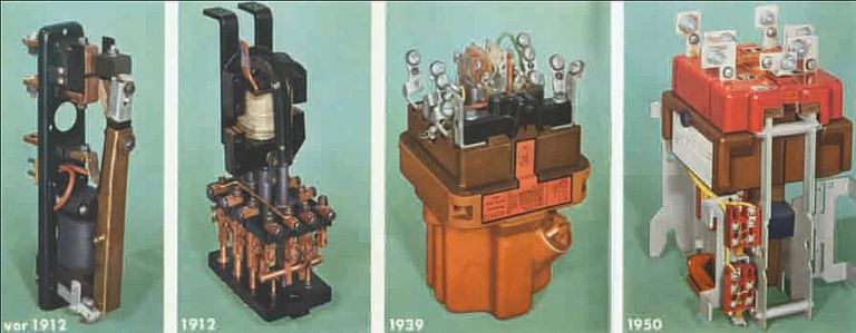 Switchgear history: 1-pole contactor, 3-pole miniature oil contactor, oil-lubricated air contactor, and air contactor with toggle lever drive.