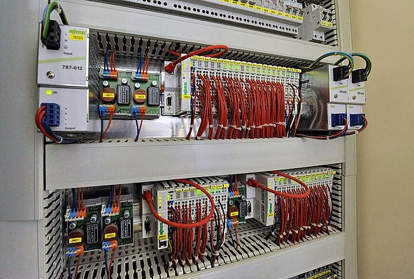 Control for the lighting and the HVAC systems was implemented using five local BACnet controllers.