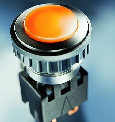 Metal Line switch with a completely backlit actuating surface made of robust ceramic, which can be labeled using laser technology to suit the individual customer requirements (source: SCHURTER)