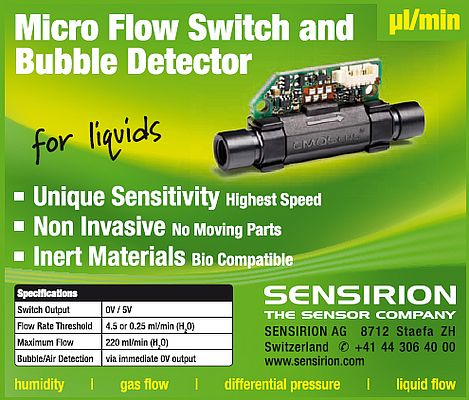 Micro flow switch and bubble detector for liquids