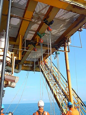 A hoist being utilised for a 40 metre lift on an offshore platform.