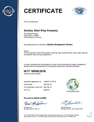 Smalley attains IATF 16949:2016 Certification