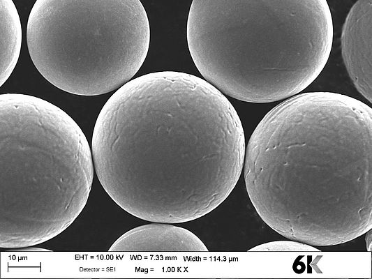 SEM Microscopic image of 6K sustainable powders depicting high sphericity and no satellites