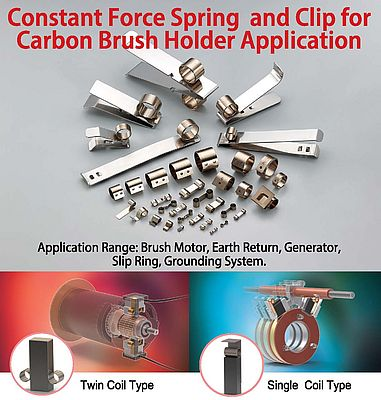 Constant Force Spring and Clip For Carbon Brush Holder Application