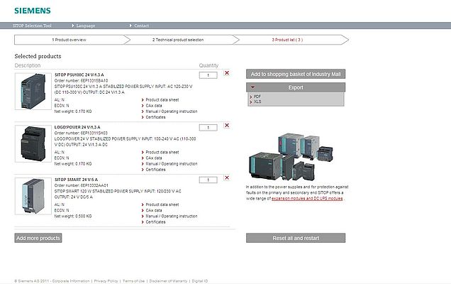 The result is a product list, which can either be exported as PDF or XLS file or be transferred directly to the shopping basket of the Siemens Industry Mall (for registered users)