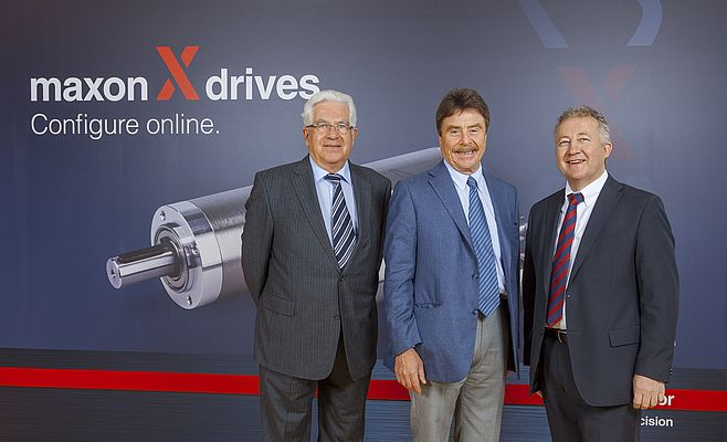 From the left to the right: Jürgen Mayer (Chairman of the Board of Directors), Dr. Karl-Walter Braun (Majority Shareholder of maxon motor ag), Eugen Elmiger (CEO)