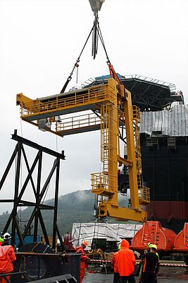 At the Westcon yard in Norway, the A-frame and track beams were assembled before the crane system was transported to its designated location on the rig.