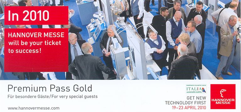 Get Your Premium Pass For HANNOVER MESSE 2010