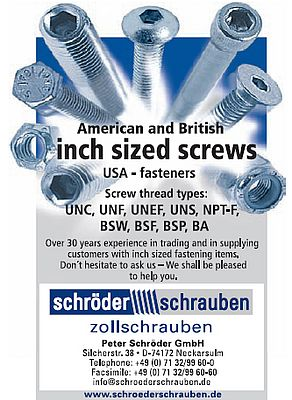 American and British inch sized screws