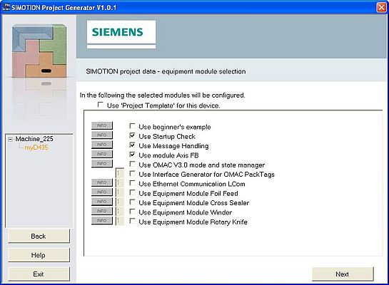 Project generator selection screen form for the base functionality and standardized equipment modules