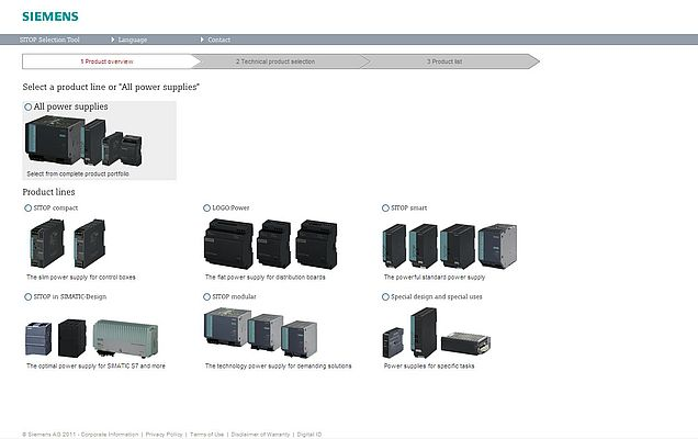 Easy and intuitive from the start: Home page of the SITOP Selection Tool by Siemens (www.siemens.com/sitop-selection-tool) for the fast selection and ordering of SITOP power supplies