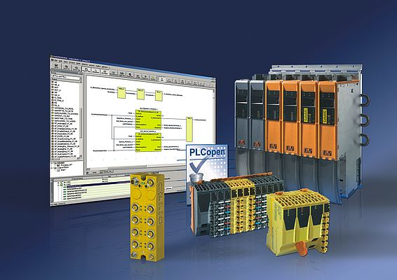 With SafeDESIGNER, in addition to FBK and LD language elements that conform to IEC 61131-3, users have a TÜV certified library with 20 function blocks for machine automation available to them for programming safety functions.