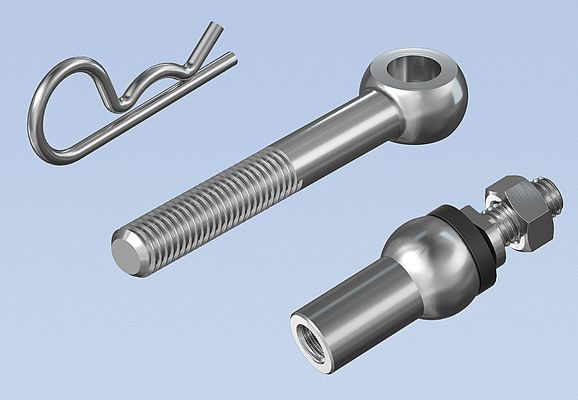 Picture of a Spring Cotter Pin, an Eye Bolt and an Axial Joints