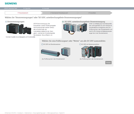 Home page of the Siemens Sitop Selection Tool for the quick selection and ordering of DC-UPS components. A choice of battery or capacitor can be made for the type of buffering.