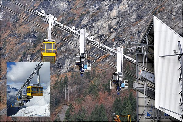 "The supply cable cars transport payloads of up to 48,355 kg and meet the 1.30 m ""small"" ACE and Bibus shock absorbers in the valley station."