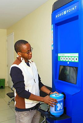 A KOKO Point ethanol Fuel ATM being demonstrated by Peter Mwako, Senior KOKO Point Production & Deployment Manager at KOKO