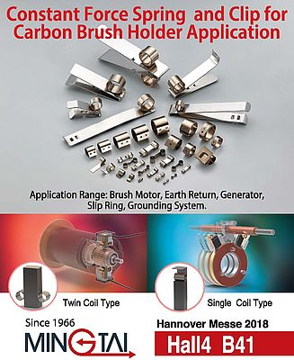 Constant Force Springs and Clip for Carbon Brush Holder Application
