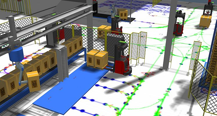 The 3D model created by EK Automation makes it possible to try out different transport strategies