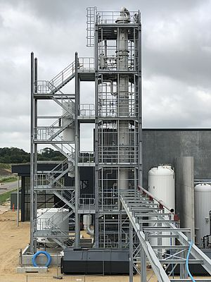 Sulzer's distillation unit separates different hydrocarbon fractions obtained by depolymerization of plastic waste