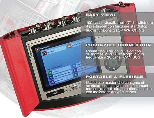 Data recorder con display touchscreen