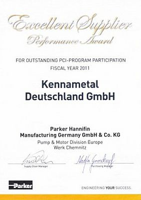 Kennametal riceve il premio Excellent Supplier Performance