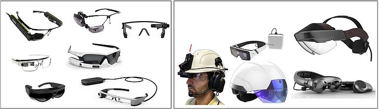 Figura 1 – Esempio di Smart-Glasses e Smart-Helmets commerciali