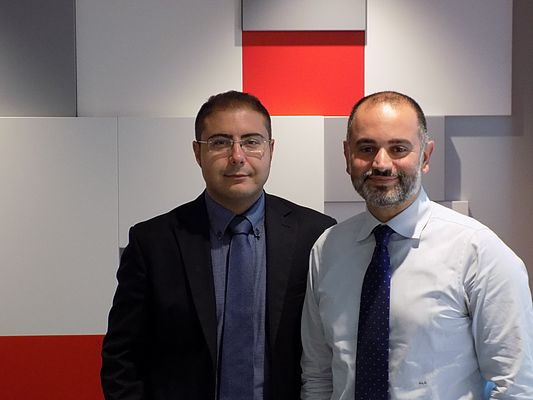 Da destra a sinistra, Giosué Cavallaro e Alessandro Cerrina, rispettivamente Marketing Manager e Technical Service Team Leader di SEW-EURODRIVE
