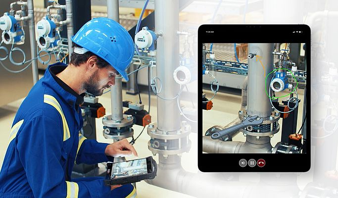 With the help of live video transmission and screen casting, Endress+Hauser's technical support team supports customers in a reliable and flexible manner with their service tasks via remote access.