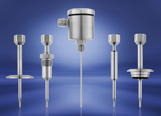 The new hygienic thermowells for JUMO temperature probes can be supplied with a range of process connections.
