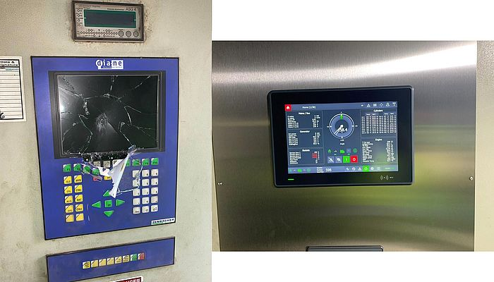The vandalised control screen and the Motortech replacement with touchscreen.