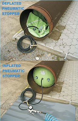 Pneumatic Stopper - Deflated and Inflated