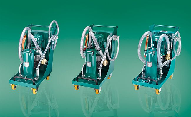 Mobile filter units SMFS-U for nominal flow rates of up to 60 and 110 litres per minute.